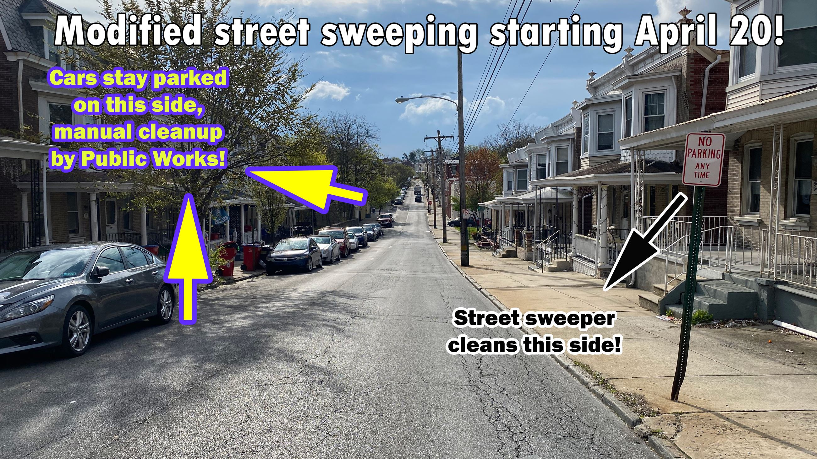 A photo showing how street sweeping will work.