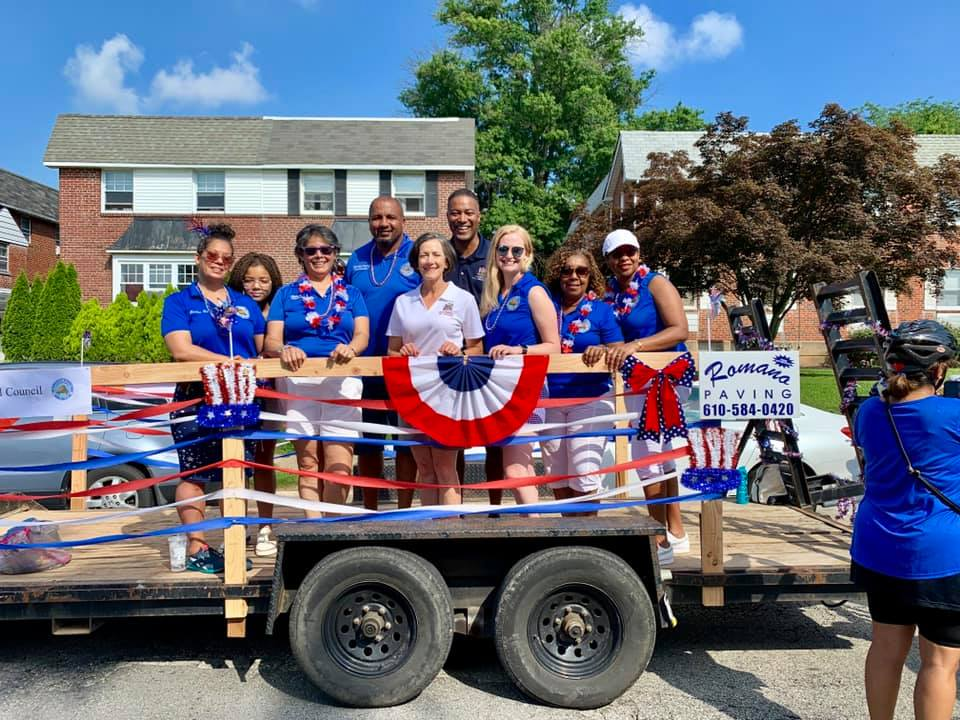 Norristown Municipal Council Members on the float at the 4th of July parade
